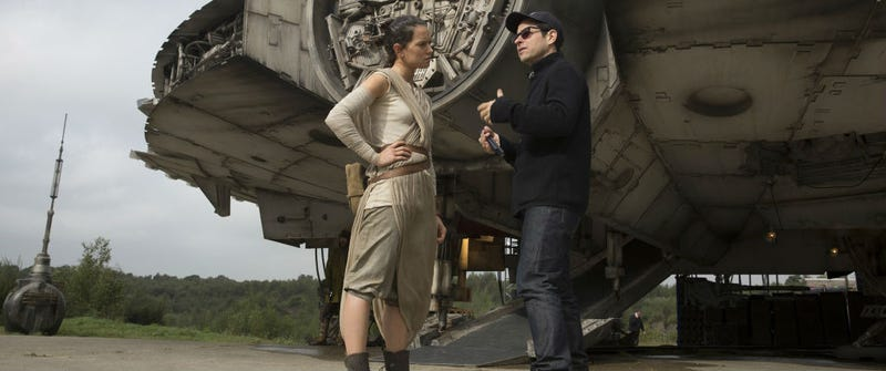 Daisy Ridley and J.J. Abrams on the set of Star Wars: The Force Awakens. Image: Disney