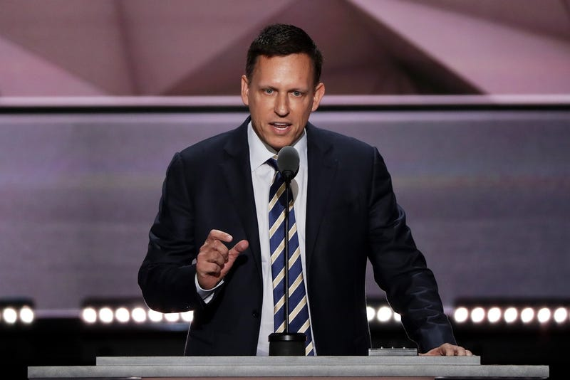 Peter Thiel giving a speech in July at the Republican National Convention in Cleveland, Ohio (Photo by Alex Wong/Getty Images)
