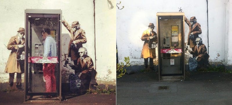 """Illustration for article titled Un nuevo mural atribuido a Banksy se mofa de la """"NSA"""" británica"""