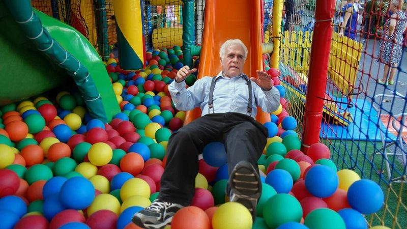 Eldery customers enjoy the new Senior Citizen PlayPlace.