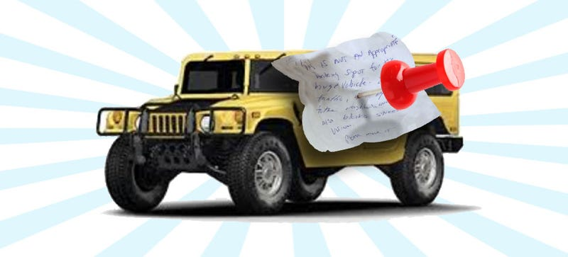 Illustration for article titled My Neighbor Anonymously Left An Angry Note On My Hummer