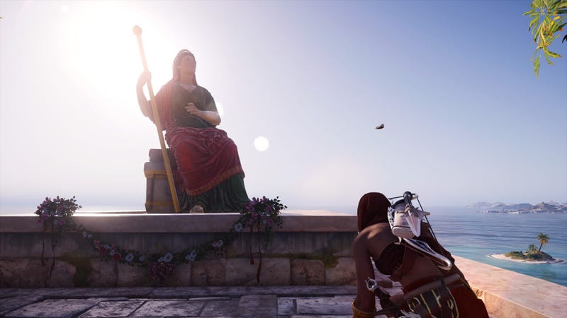 "Kassandra ""sneaking"" in a prayer to Hera...get it?"