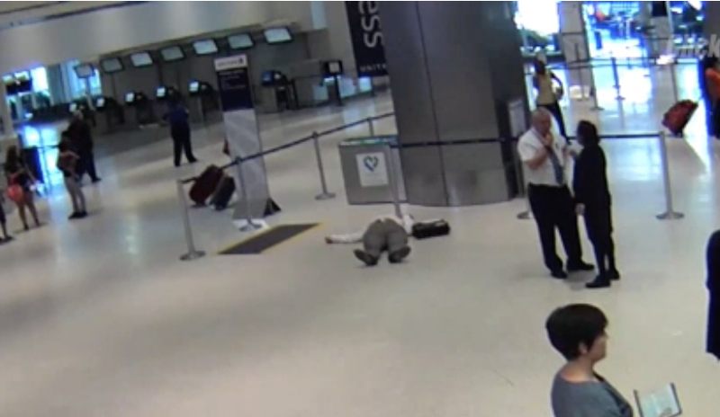 Ronald Tigner was left sprawled on the floor of Houston airport. (KPRC screenshot)