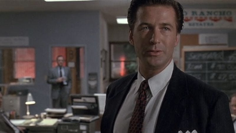 Illustration for article titled Why Glengarry Glen Ross' Alec Baldwin scene is so unusual