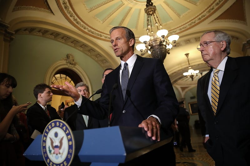 Sen. John Thune (R-S.D.) speaks with members of the Senate Republican leadership during a press conference at the U.S. Capitol on Sept. 12, 2017, in Washington, D.C.  (Win McNamee/Getty Images)