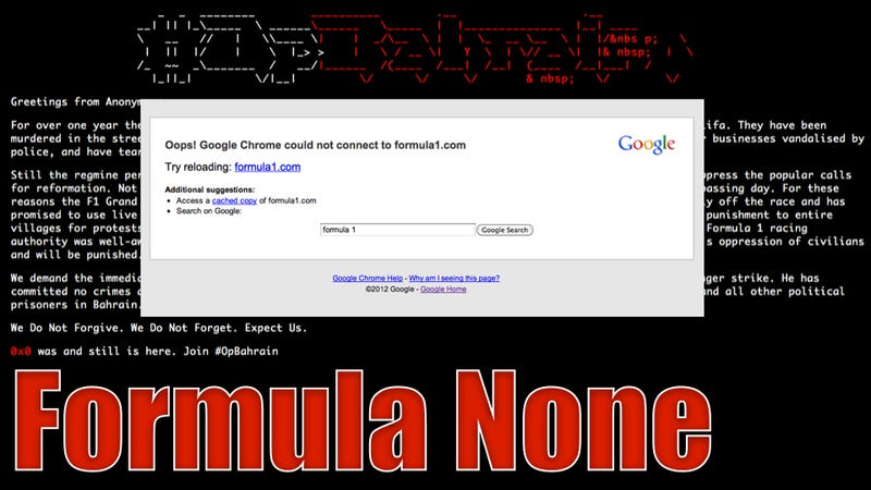 Illustration for article titled BREAKING: Anonymous Takes Down Formula 1 Website With DDOS Attack (Updating Live)