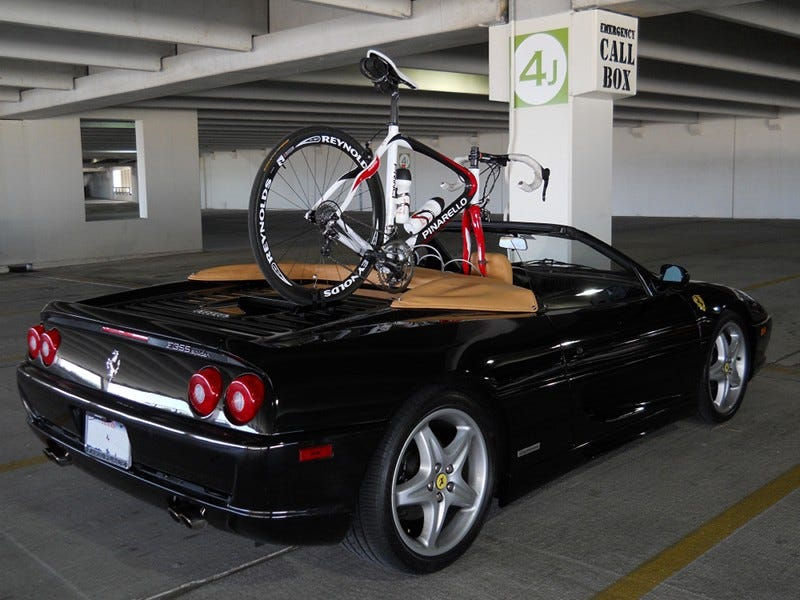 Illustration for article titled How to mount a bike to your Ferrari convertible