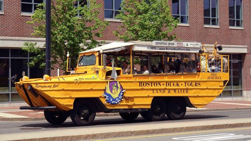 The photo of this boat raises numerous questions, all of which are answered with precision in the Duck Tour FAQ.