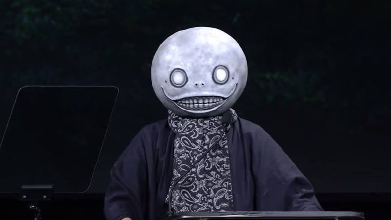 Taro Yoko at Square Enix's 2015 E3 press conference.