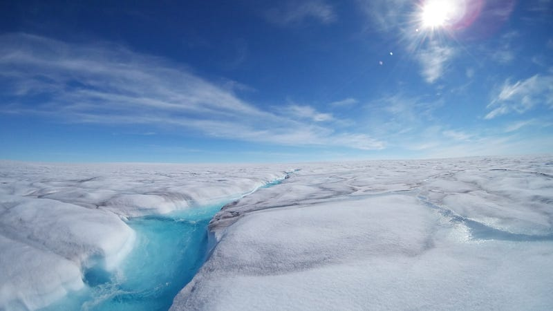 Surface meltwater runs across West Greenland's Store Glacier in the summertime.
