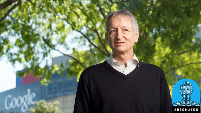 Computer scientist Geoffrey Hinton, who studies neural networks used in artificial intelligence applications, poses at Google's Mountain View, Calif, headquarters on Wednesday, March 25, 2015.
