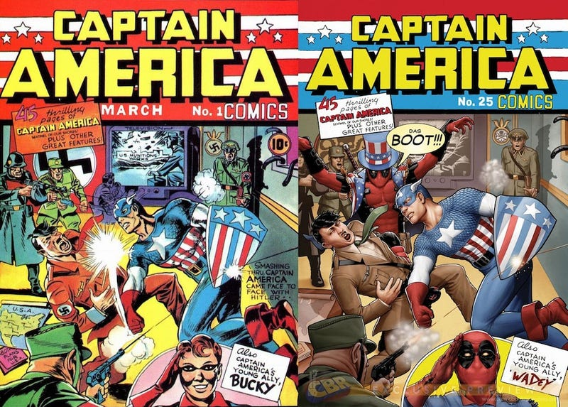 Illustration for article titled Deadpool Photobombs Classic Marvel Comic Book Covers