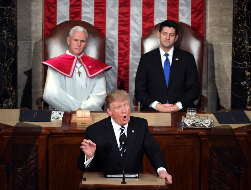 Illustration for article titled Mike Pence Breaks Out Formal Altar Boy Robes For State Of The Union Address
