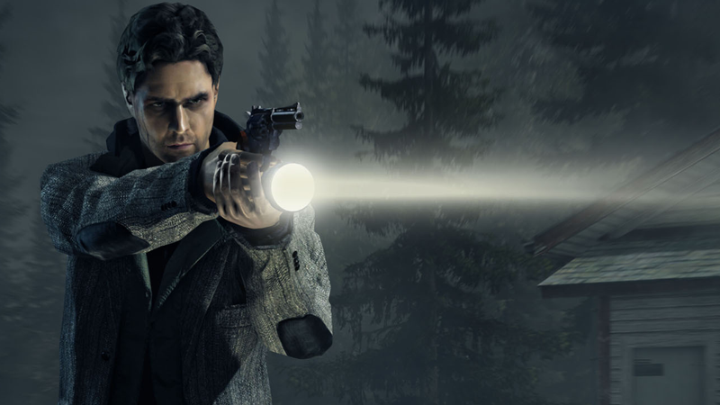 Alan Wake, armed with his trusty flashlight and revolver in, err, Alan Wake.