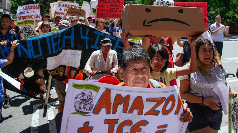 Protesters in New York criticizing Amazon's ties to ICE