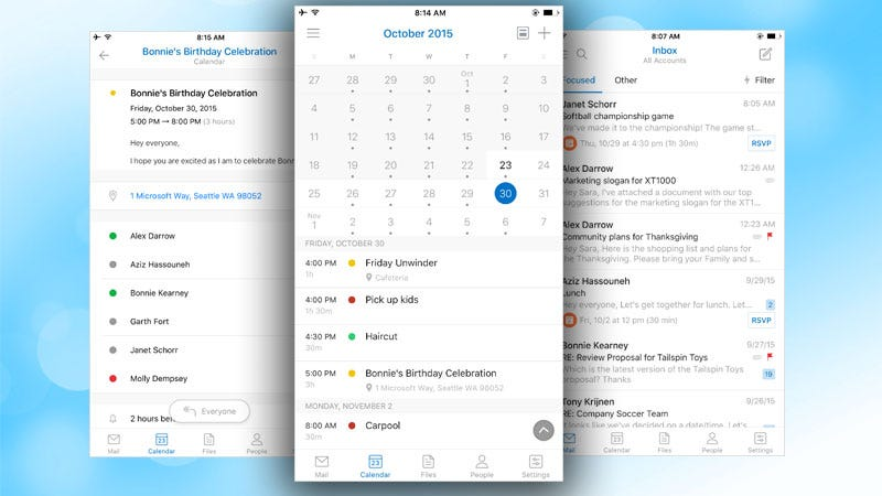 Illustration for article titled Outlook for Android and iOS Adds Calendar Features from Sunrise