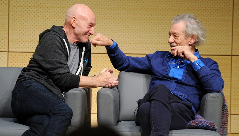 Illustration for article titled Watch Patrick Stewart and Ian McKellen Giggle and Talk About Hashtags