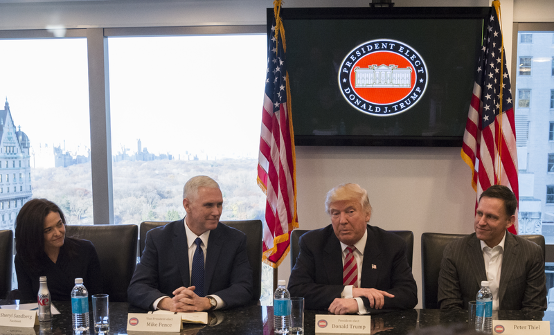 President-elect Donald Trump and Vice-President-elect Mike Pence flanked by Facebook COO and board member Sheryl Sandberg and Facebook board member Peter Thiel on Wednesday at Trump Tower (Photo: AP)