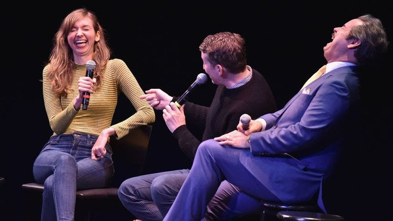 Lauren Lapkus (left), Scott Aukerman, and Paul F. Tompkins of Comedy Bang! Bang! at BAM presented by Vulture Festival in May. (Photo: Theo Wargo/Getty Images for Vulture Festival)