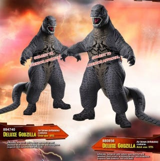 Illustration for article titled These Inflatable Godzilla Costumes Are Both Brilliant And Terrifying