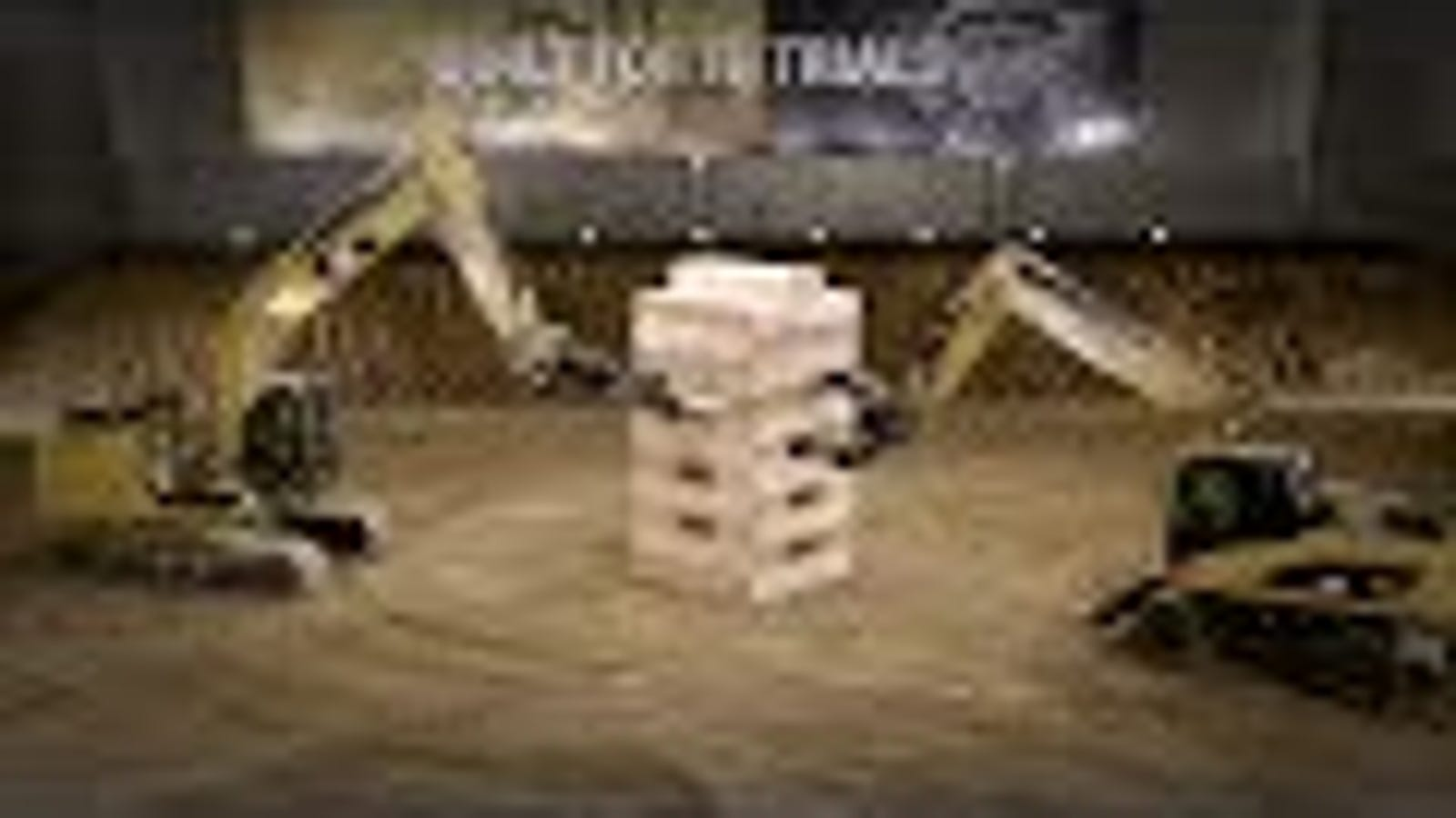Watch Five Giant Cat Excavators Play the World's Biggest Game of Jenga