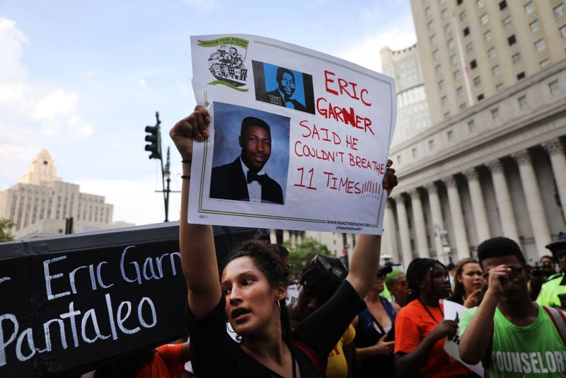 People participate in a protest to mark the five year anniversary of the death of Eric Garner during a confrontation with a police officer in the borough of Staten Island on July 17, 2019, in New York City.