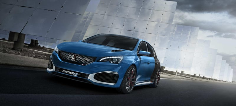 Illustration for article titled Peugeot Really Just Made A 500 HP, AWD Hybrid Hatchback Concept