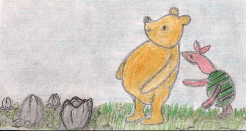 """Illustration for article titled Delightful ComicAlien Versus Pooh Puts The """"Hug"""" In """"Facehugger"""""""