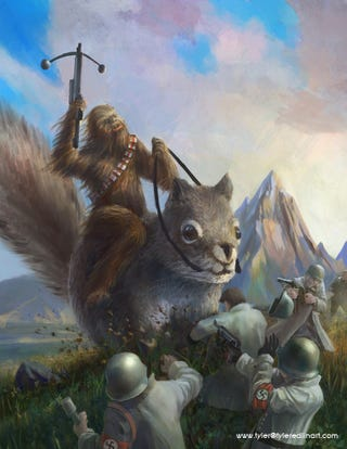 Illustration for article titled Chewbacca On A Squirrel Fighting Nazis