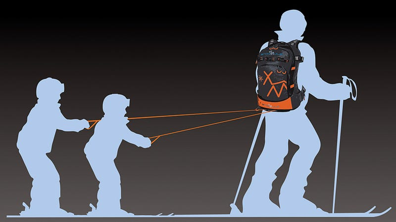 Illustration for article titled This Skiing Backpack Turns Parents Into Sled Dogs
