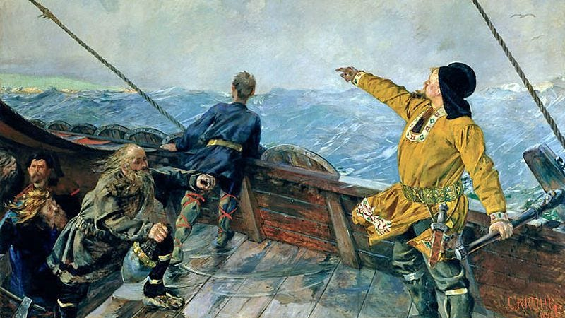 """Christian Krogh's 1893 painting """"Leif Erikson discovers North America"""""""