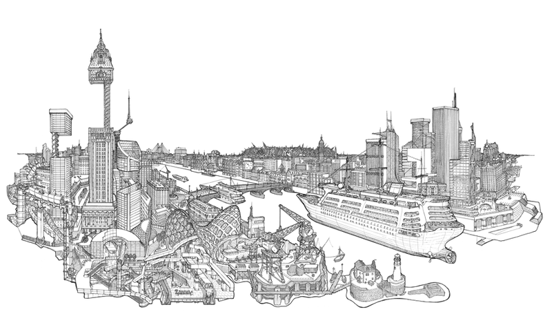 Illustration for article titled Intricate illustrations of elaborate and impossible buildings