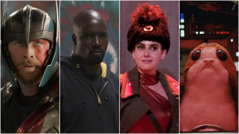 Choose your fighter (L to R: Thor: Ragnarok; Marvel's Luke Cage; GLOW; The Last jedi)