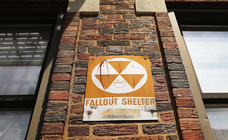 An old nuclear fallout shelter sign, photographed in New York in 2014 (Photo by Spencer Platt/Getty Images)