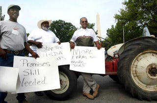 An Aug. 2002 National Black Farmers Association protest in front of the USDAin Washington, D.C. (Mark Wilson/Getty Images)