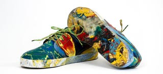 Illustration for article titled Watch Plastic Ocean Junk Become a Pair of Wild Multi-Colored Sneakers