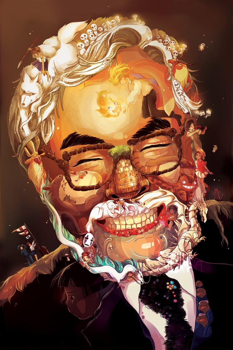 Illustration for article titled A Delightful Portrait of Hayao Miyazaki Made Out of Ghibli Characters