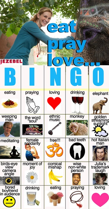 Illustration for article titled The Eat, Pray, Love Bingo Card Makes A Good Stocking-Stuffer