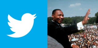 Twitter (twitter.com/logo); Martin Luther King Jr. (Francis Miller/Time & Life Pictures/Getty Images)