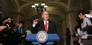 Senate Minority Leader Mitch McConnell giving a press conference (Chip Somodevilla/Getty Images)