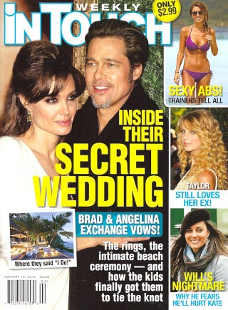 Illustration for article titled This Week In Tabloids: Angie & Brad Got Married & We All Missed It