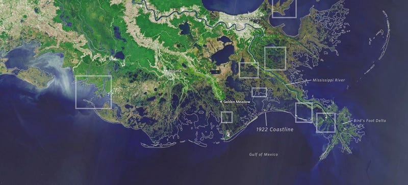 Illustration for article titled Louisiana loses a football field of land every hour to the ocean