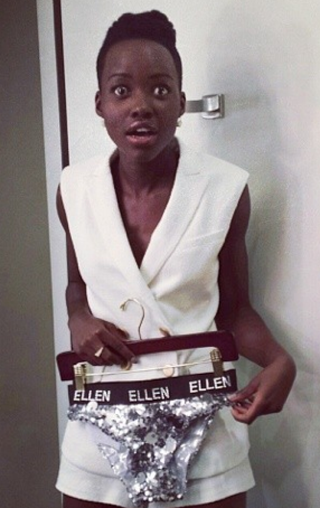 """""""#tbt #sparkly #scratchy Everything That Glitters For The Gold #UnderTheOscarDress @theellenshow""""Instagram"""