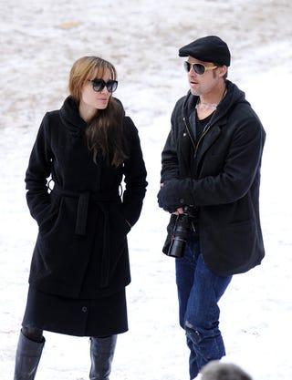 Illustration for article titled Angelina & Brad, Walking In A Winter Wonderland