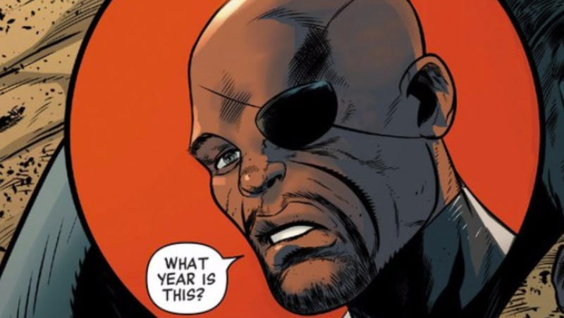 Illustration for article titled Marvel's Newest Nick Fury Comic Has a Time-Traveling Super-Racist and a Very Special Guest Star