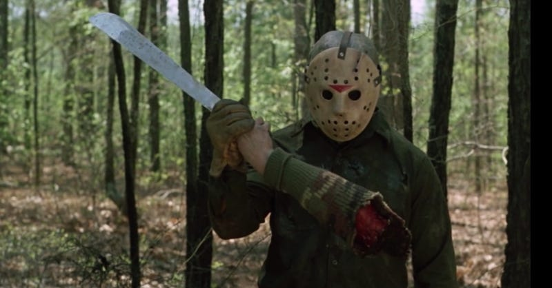 Jason admires his handiwork in Friday the 13th Part VI: Jason Lives.