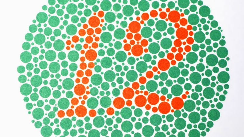 An Ishihara color plate used to check for color blindness (Photo: Getty Images)