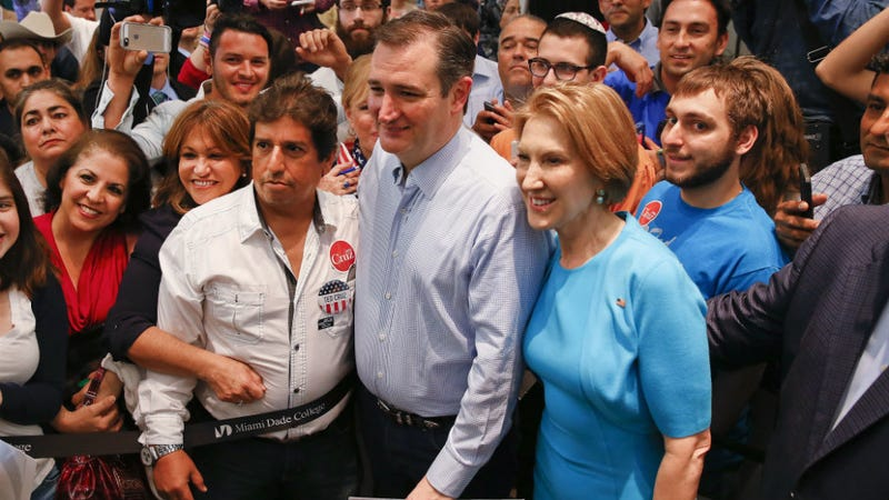 Illustration for article titled Carly Fiorina, Who Is Not the Zodiac Killer, Endorses Ted Cruz, Who...Hmm