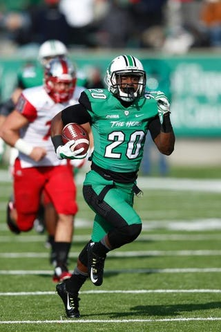 Steward Butler of the Marshall Thundering Herd during a game against the Western Kentucky Hilltoppers at Joan C. Edwards Stadium Nov. 28, 2014, in Huntington, W.Va.Joe Robbins/Getty Images