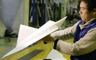 """Illustration for article titled Japanese """"Origami Airplane"""" Enthusiast Breaks World Record for Longest Paper Plane Flight"""
